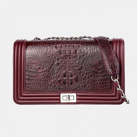 Crocodile Leather Purse, Crocodile Leather Clutch-Wine Red