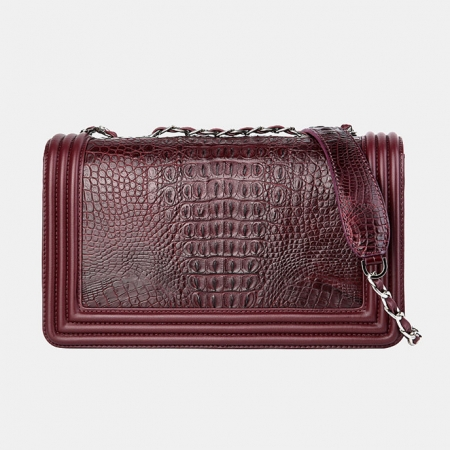 Crocodile Leather Purse, Crocodile Leather Clutch-Wine Red-Back