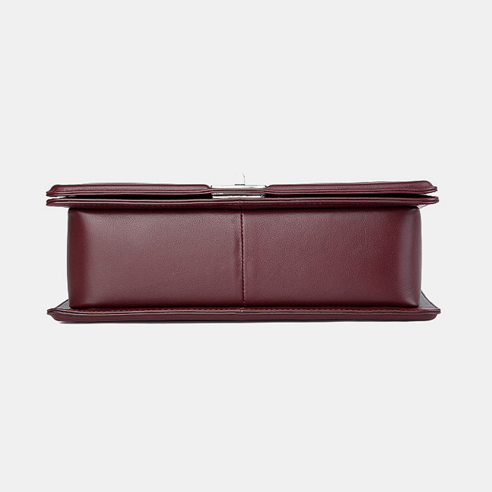 Crocodile Leather Purse, Crocodile Leather Clutch-Wine Red-Bottom