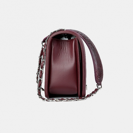 Crocodile Leather Purse, Crocodile Leather Clutch-Wine Red-Side
