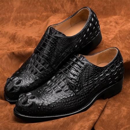 Crocodile Leather Shoes-Black