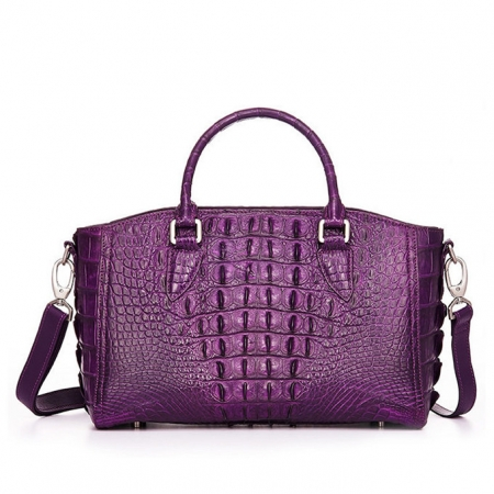 Crocodile Leather Shoulder Bag, Crocodile Leather Designer Handbag-Back