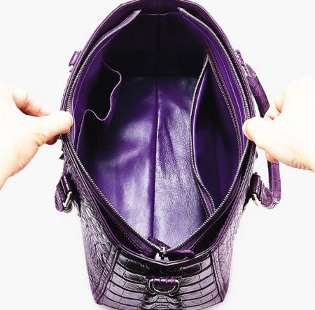 Crocodile Leather Shoulder Bag, Crocodile Leather Designer Handbag-Inside
