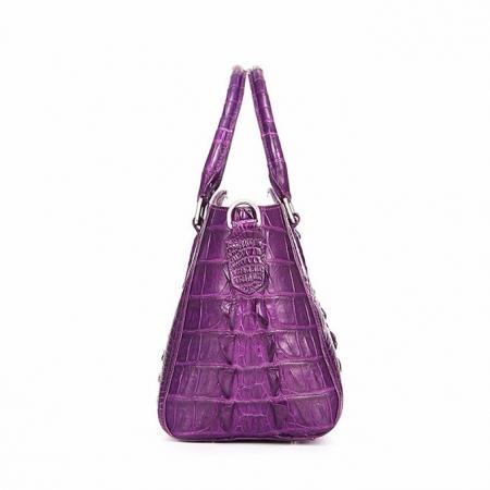 Crocodile Leather Shoulder Bag, Crocodile Leather Designer Handbag-Side