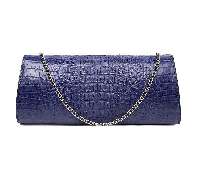 Crocodile Purse, Crocodile Shoulder Clutch-Dark Blue-Back