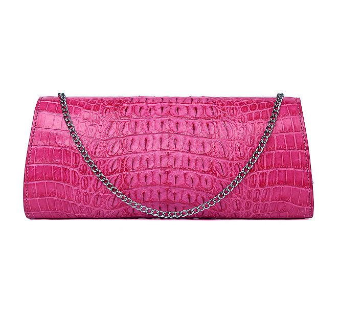 Crocodile Purse, Crocodile Shoulder Clutch-Pink-Back
