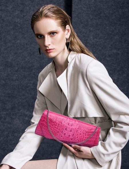 Crocodile Purse, Crocodile Shoulder Clutch-Pink-Exhibition