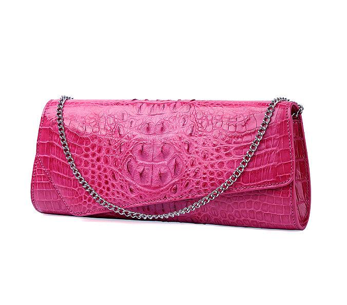 Crocodile Purse, Crocodile Shoulder Clutch-Pink