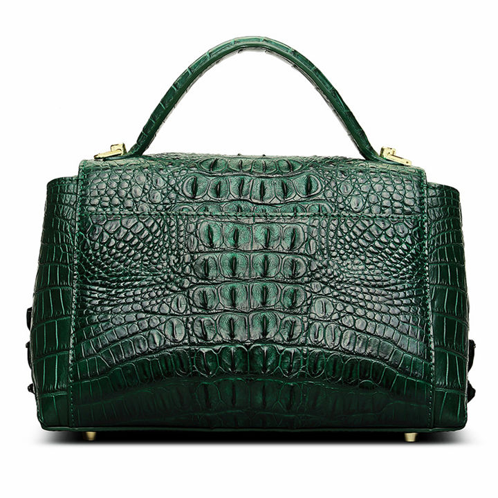 Designer Crocodile Leather Handbag-Green-Back