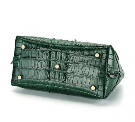 Designer Crocodile Leather Handbag-Green-Bottom