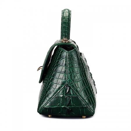 Designer Crocodile Leather Handbag-Green-Side