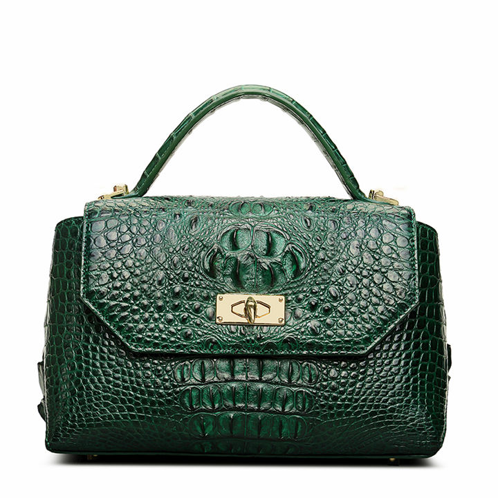 Designer Crocodile Leather Handbag-Green