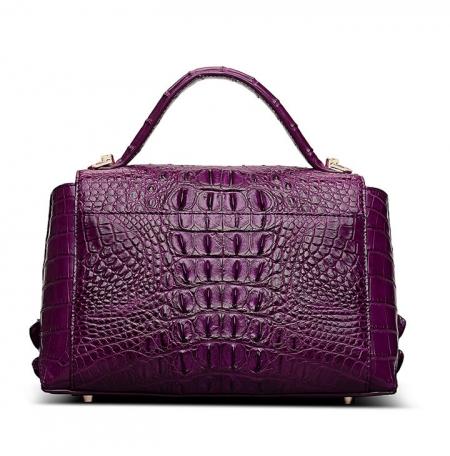 Designer Crocodile Leather Handbag-Purple-Back