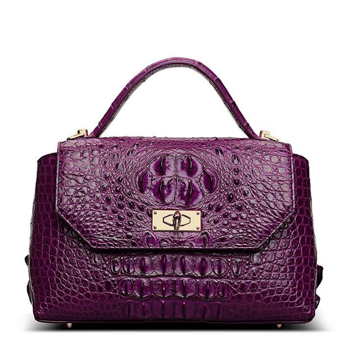 Designer Crocodile Leather Handbag-Purple