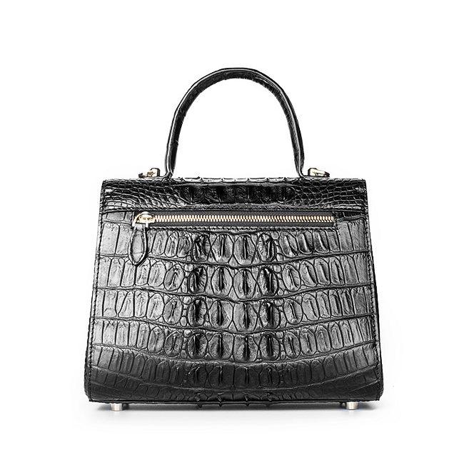 Elegant High-end Crocodile Handbag Purse Crossbody Bag-Black-Back