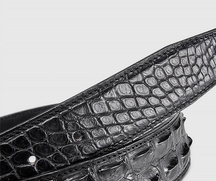 Elegant, Stylish Genuine Crocodile Belt-Black-2