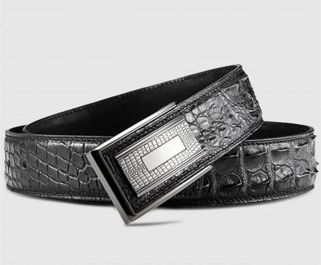 Elegant, Stylish Genuine Crocodile Belt-Black-Buckle