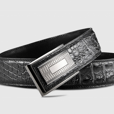 Elegant, Stylish Genuine Crocodile Belt-Black-Buckle