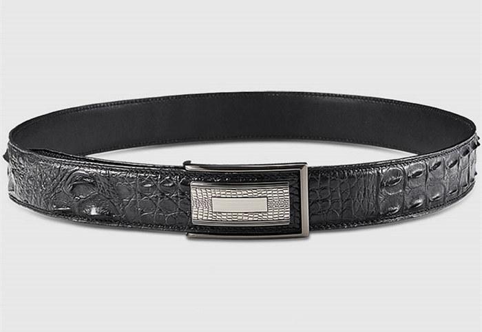 Elegant, Stylish Genuine Crocodile Belt-Black-Lay