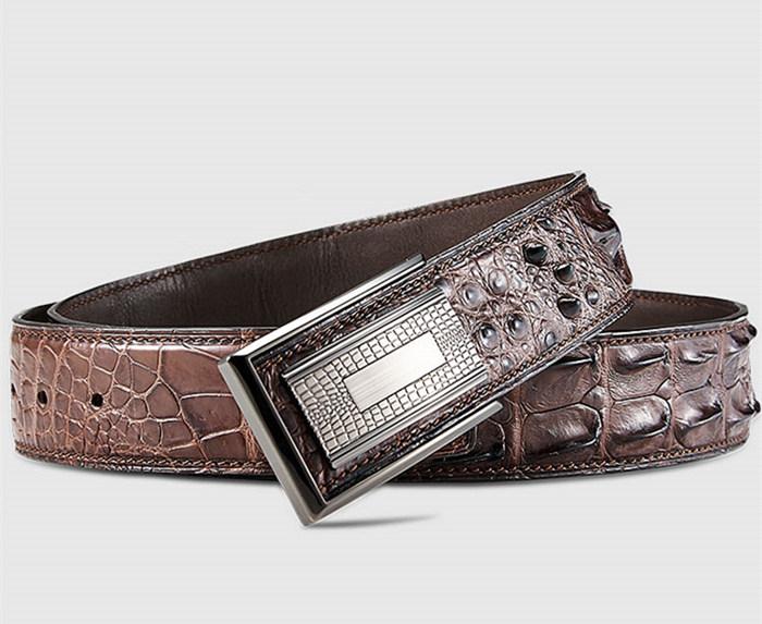 Elegant, Stylish Genuine Crocodile Belt-Brown-Buckle