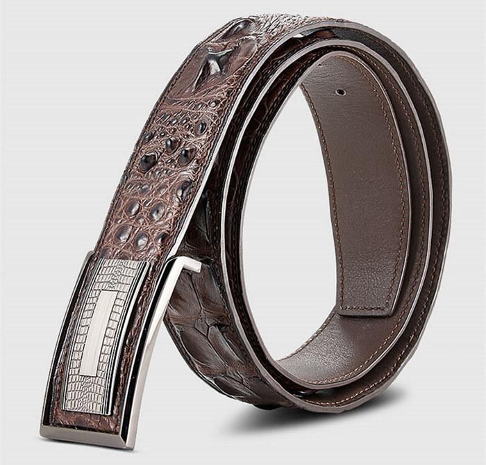 Elegant, Stylish Genuine Crocodile Belt-Brown