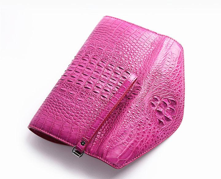 Evening Crocodile Purse, Crocodile Clutch Bag-Pink-Back
