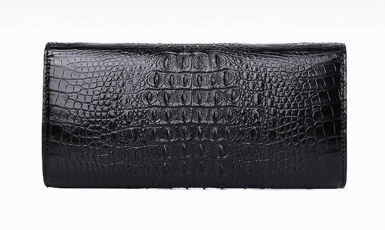 Evening Crocodile Purse, Crocodile Clutch Bag, Wrist Bag-Black-back