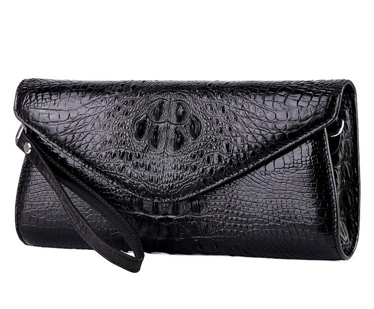 Evening Crocodile Purse, Crocodile Clutch Bag, Wrist Bag-Black