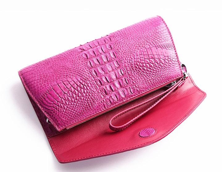Evening Crocodile Purse, Crocodile Clutch Bag, Wrist Bag-Pink-Inside