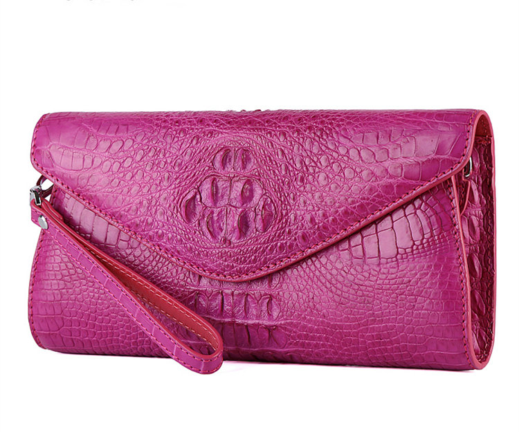 Evening Crocodile Purse, Crocodile Clutch Bag, Wrist Bag-Pink