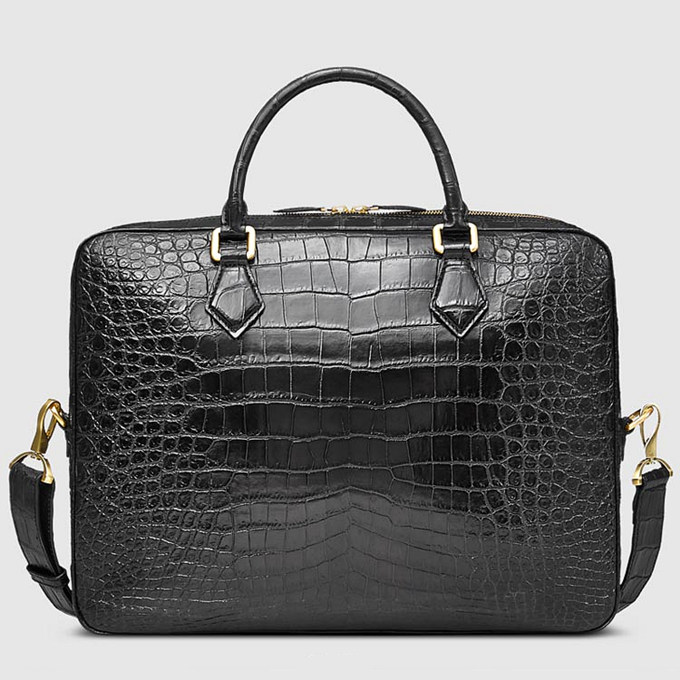 Fashion Alligator Bag, Luxury Alligator Briefcase for Men-Back