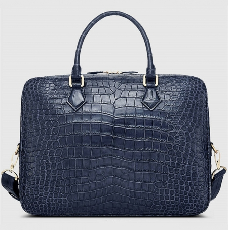 Fashion Alligator Bag, Luxury Alligator Briefcase for Men-Blue-Back