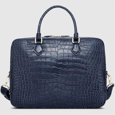 Fashion Alligator Bag, Luxury Alligator Briefcase for Men-Blue-Back