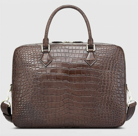 Fashion Alligator Bag, Luxury Alligator Briefcase for Men-Brown-Back