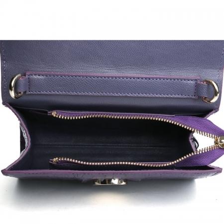 Fashion Alligator Crossbody, Shoulder, Purse-Purple-Inside