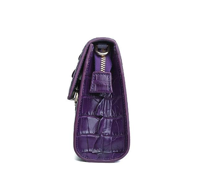 Fashion Alligator Crossbody, Shoulder, Purse-Purple-Side