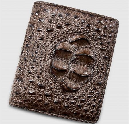 Fashion Bifold Genuine Crocodile Wallet-Brown