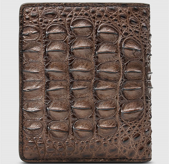 Fashion Bifold Genuine Crocodile Wallet-Brown-Bottom