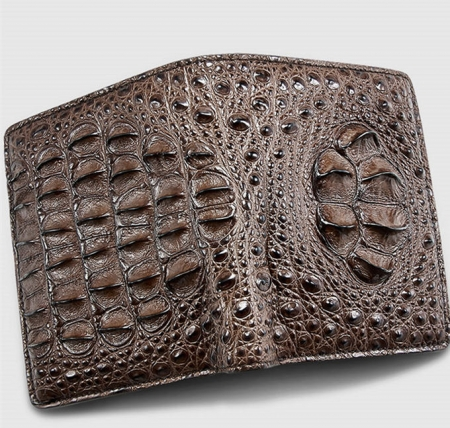 Fashion Bifold Genuine Crocodile Wallet-Brown-Face