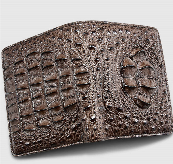 Fashion Bifold Genuine Crocodile Wallet-Brown-Face