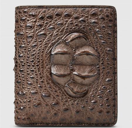 Fashion Bifold Genuine Crocodile Wallet-Brown-Front