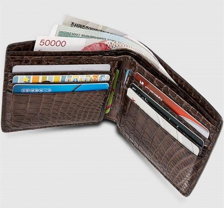 Fashion Bifold Genuine Crocodile Wallet-Brown-Inside