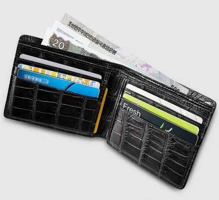 Fashion Bifold Genuine Crocodile Wallet-Inside