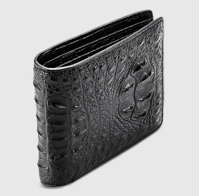 Fashion Bifold Genuine Crocodile Wallet-Side