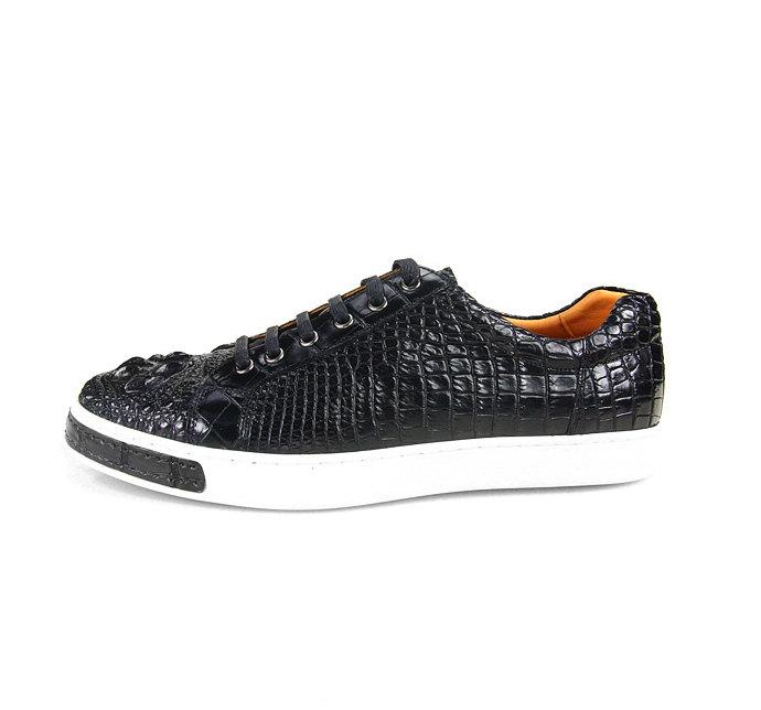 Fashion Genuine Crocodile Leather Shoes-Side