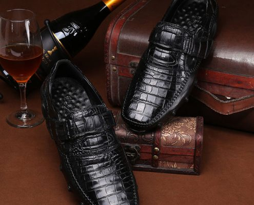 Fashion black alligator skin shoes for men