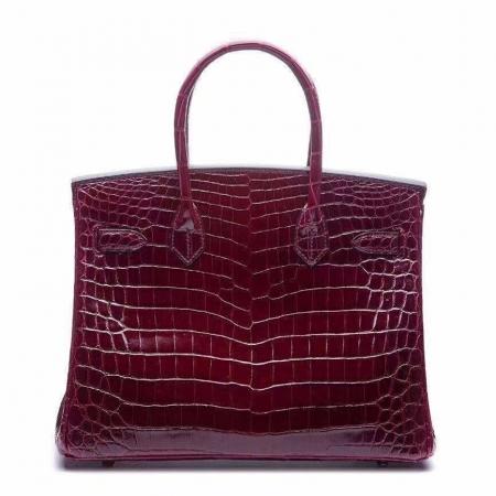 Genuine Alligator Handbag-Burgundy-Back