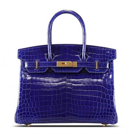 Genuine Alligator Leather Handbag-Royal Blue