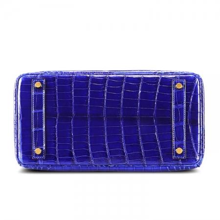 Genuine Alligator Leather Handbag-Royal Blue-Bottom