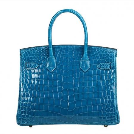 Genuine Alligator Leather Handbag-Blue-Back